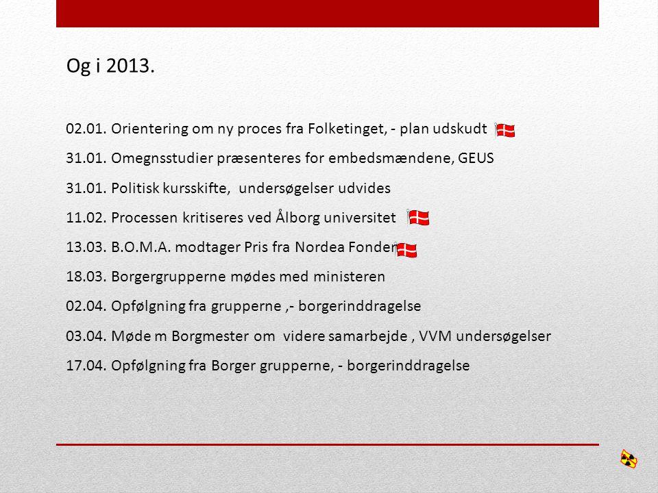 Og i 2013. 02.01. Orientering om ny proces fra Folketinget, - plan udskudt 31.01.