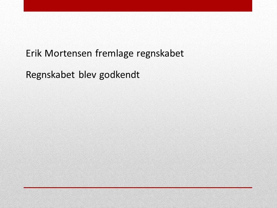 Erik Mortensen fremlage regnskabet Regnskabet blev godkendt