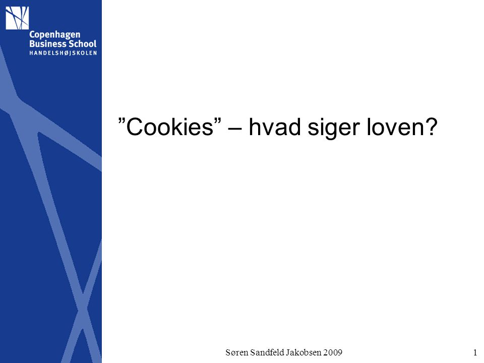 Søren Sandfeld Jakobsen 20091 Cookies – hvad siger loven