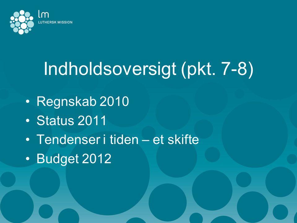 Indholdsoversigt (pkt. 7-8) •Regnskab 2010 •Status 2011 •Tendenser i tiden – et skifte •Budget 2012