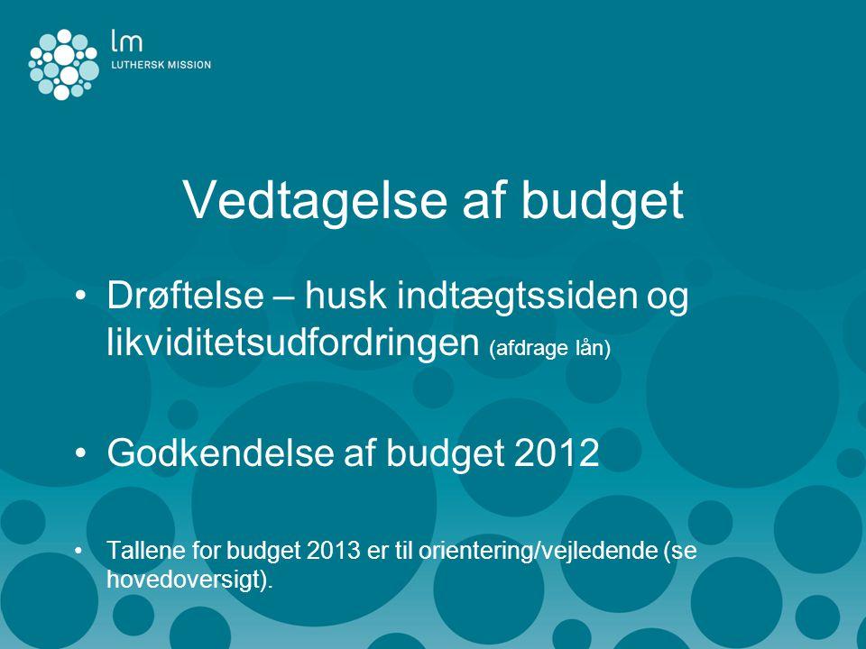 Vedtagelse af budget •Drøftelse – husk indtægtssiden og likviditetsudfordringen (afdrage lån) •Godkendelse af budget 2012 •Tallene for budget 2013 er til orientering/vejledende (se hovedoversigt).