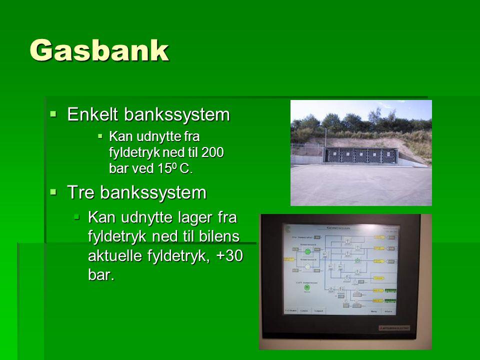Gasbank  Enkelt bankssystem  Kan udnytte fra fyldetryk ned til 200 bar ved 15 0 C.
