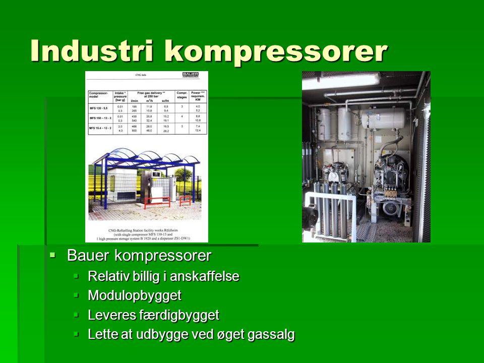 Industri kompressorer  Bauer kompressorer  Relativ billig i anskaffelse  Modulopbygget  Leveres færdigbygget  Lette at udbygge ved øget gassalg