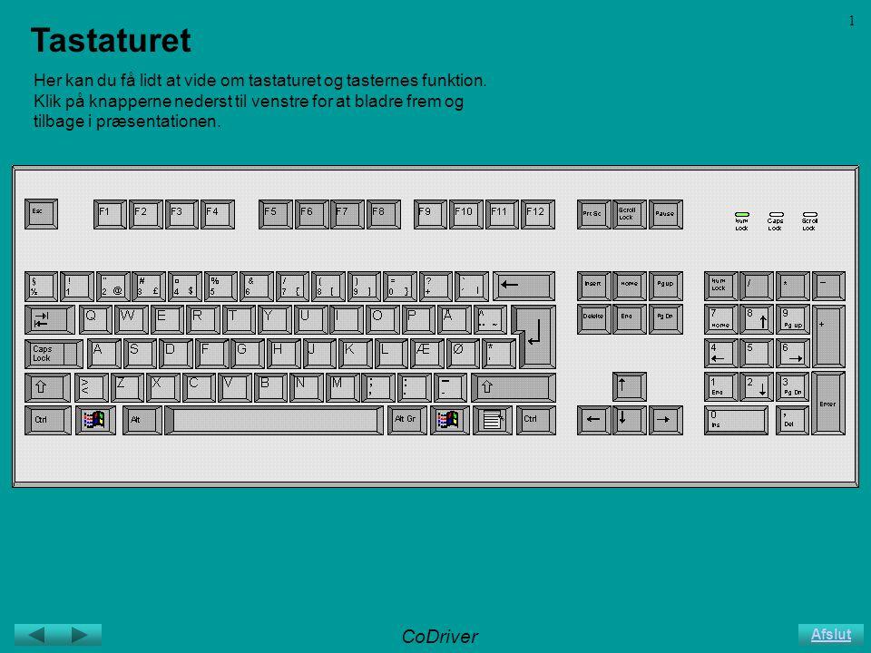 CoDriver Afslut 1 Tastaturet Her kan du få lidt at vide om tastaturet og tasternes funktion.