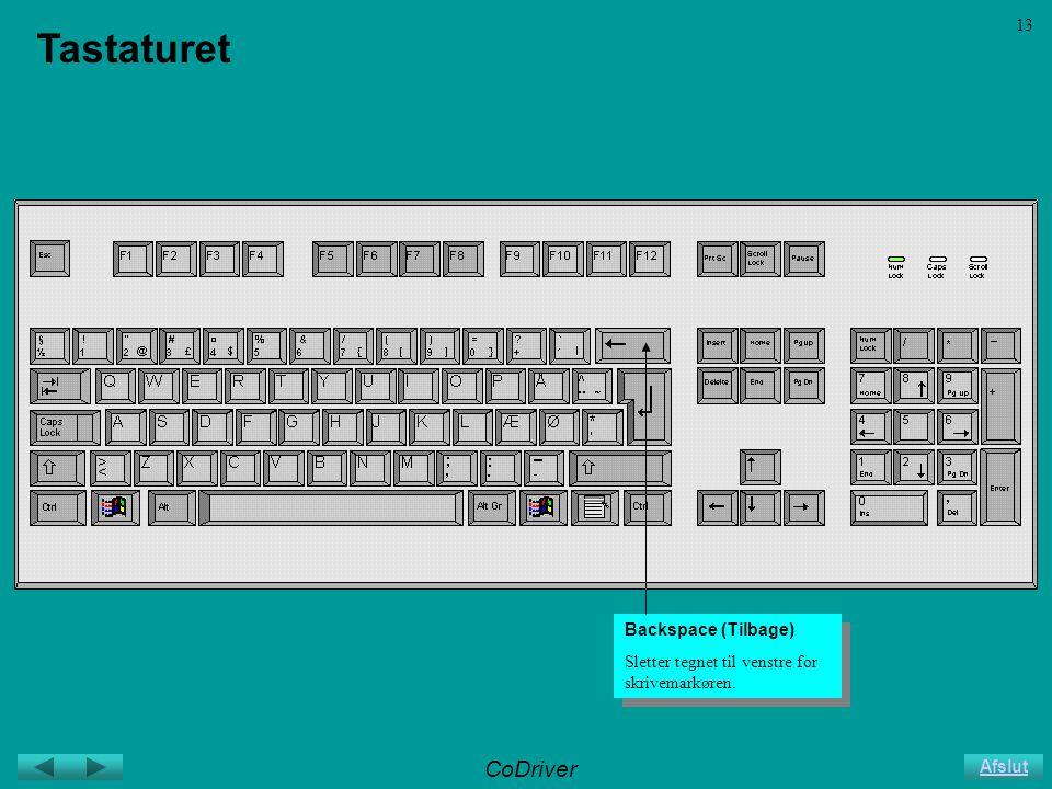 CoDriver Afslut 13 Tastaturet Backspace (Tilbage) Sletter tegnet til venstre for skrivemarkøren.