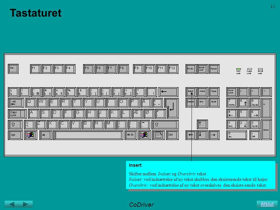 CoDriver Afslut 15 Tastaturet Insert Skifter mellem Indsæt og Overskriv tekst.