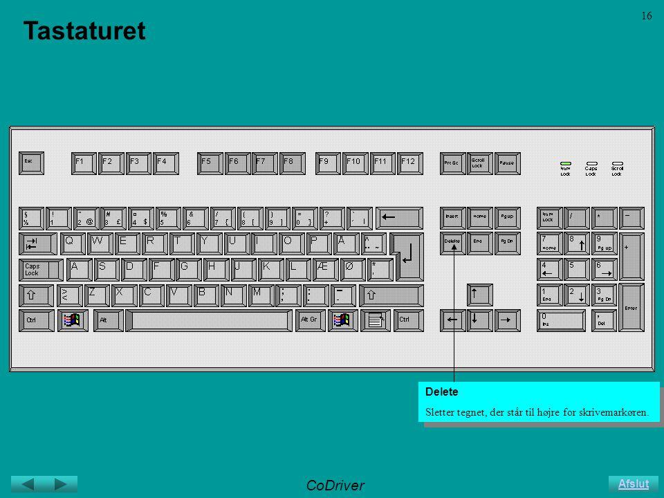 CoDriver Afslut 16 Tastaturet Delete Sletter tegnet, der står til højre for skrivemarkøren.