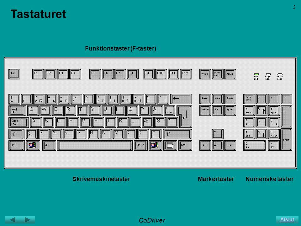 CoDriver Afslut 2 Tastaturet SkrivemaskinetasterMarkørtasterNumeriske taster Funktionstaster (F-taster)