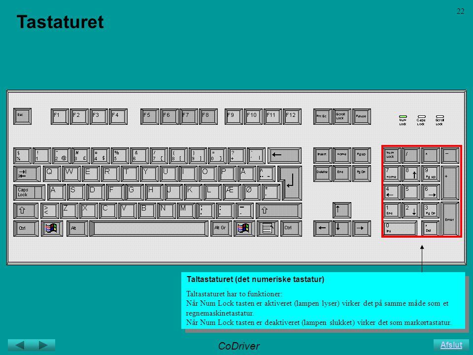 CoDriver Afslut 22 Tastaturet Taltastaturet (det numeriske tastatur) Taltastaturet har to funktioner: Når Num Lock tasten er aktiveret (lampen lyser) virker det på samme måde som et regnemaskinetastatur.