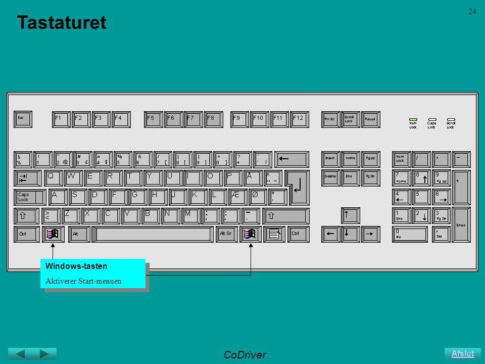 CoDriver Afslut 24 Tastaturet Windows-tasten Aktiverer Start-menuen Windows-tasten Aktiverer Start-menuen