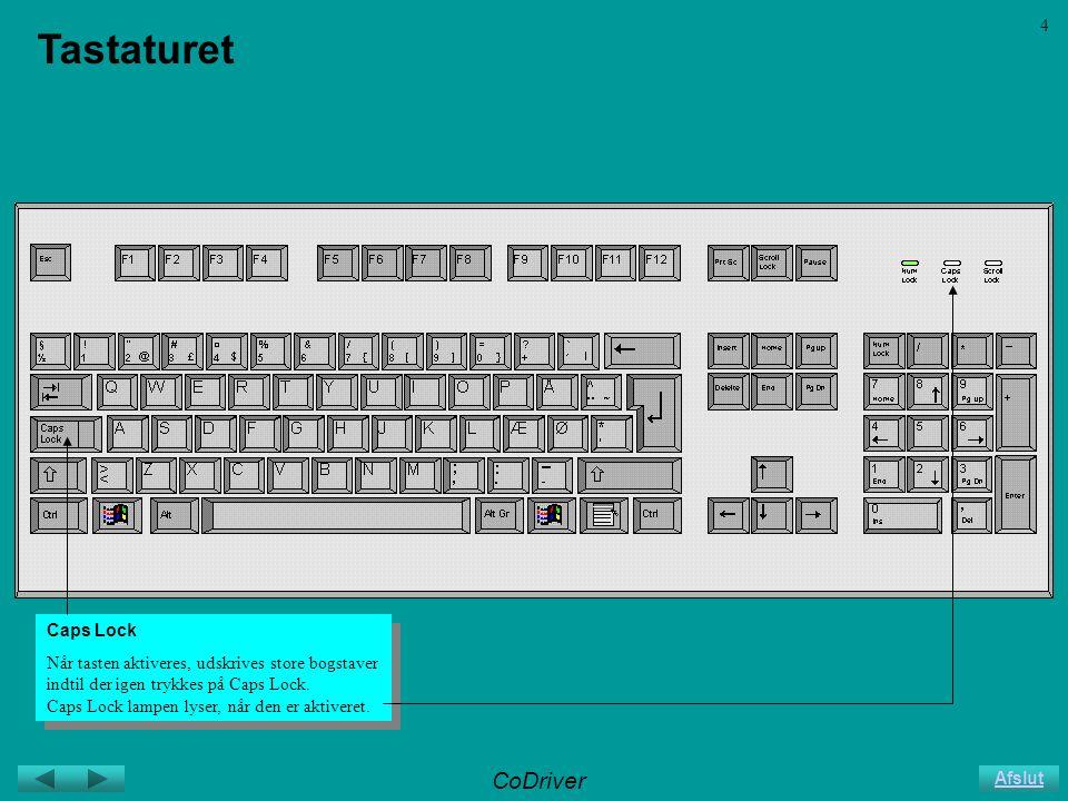 CoDriver Afslut 4 Tastaturet Caps Lock Når tasten aktiveres, udskrives store bogstaver indtil der igen trykkes på Caps Lock.