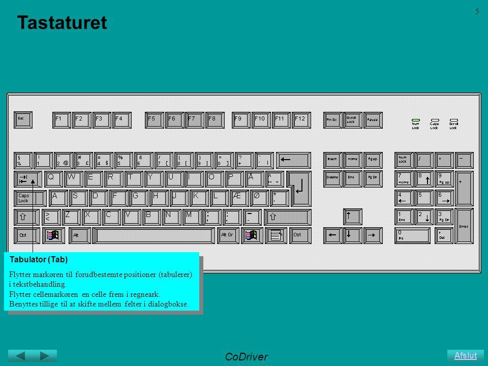 CoDriver Afslut 5 Tastaturet Tabulator (Tab) Flytter markøren til forudbestemte positioner (tabulerer) i tekstbehandling.