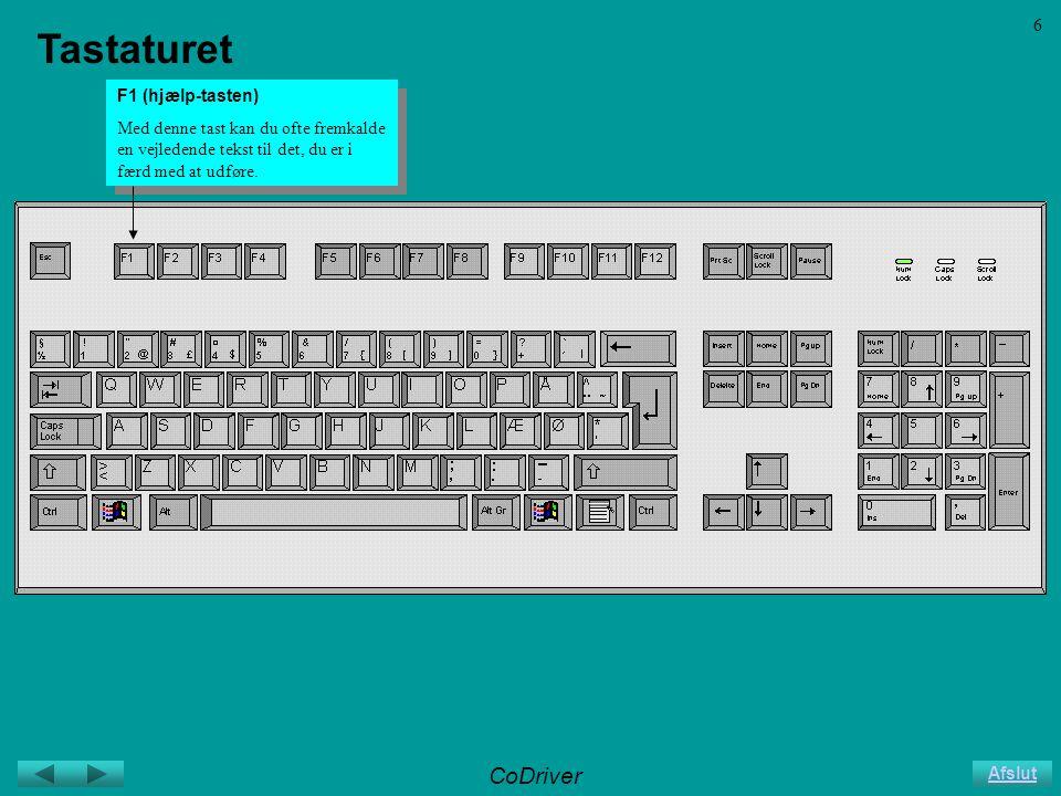 CoDriver Afslut 6 Tastaturet F1 (hjælp-tasten) Med denne tast kan du ofte fremkalde en vejledende tekst til det, du er i færd med at udføre.