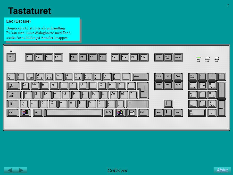 CoDriver Afslut 7 Tastaturet Esc (Escape) Bruges ofte til at fortryde en handling.