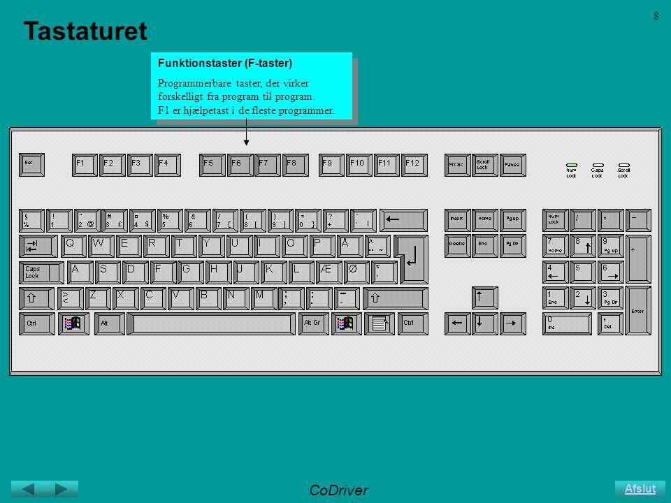 CoDriver Afslut 8 Tastaturet Funktionstaster (F-taster) Programmerbare taster, der virker forskelligt fra program til program.