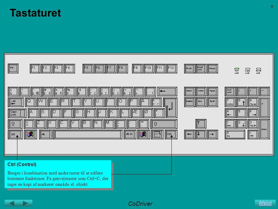 CoDriver Afslut 9 Tastaturet Ctrl (Control) Bruges i kombination med andre taster til at udføre bestemte funktioner.
