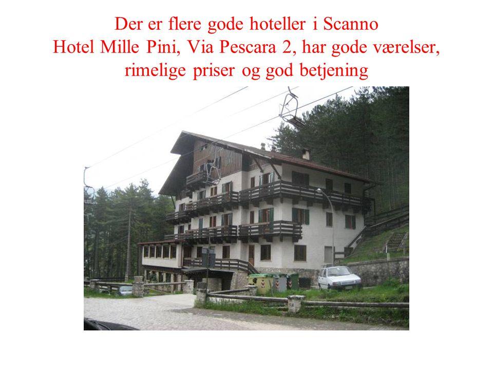 Der er flere gode hoteller i Scanno Hotel Mille Pini, Via Pescara 2, har gode værelser, rimelige priser og god betjening