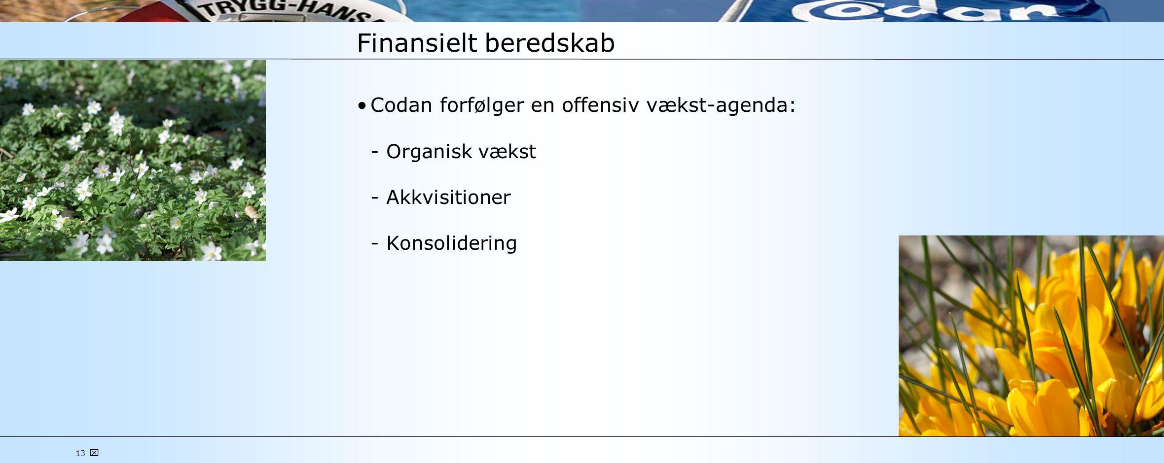 13  Finansielt beredskab •Codan forfølger en offensiv vækst-agenda: Organisk vækst Akkvisitioner Konsolidering