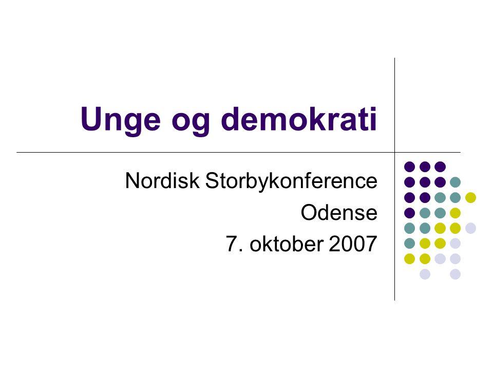 Unge og demokrati Nordisk Storbykonference Odense 7. oktober 2007