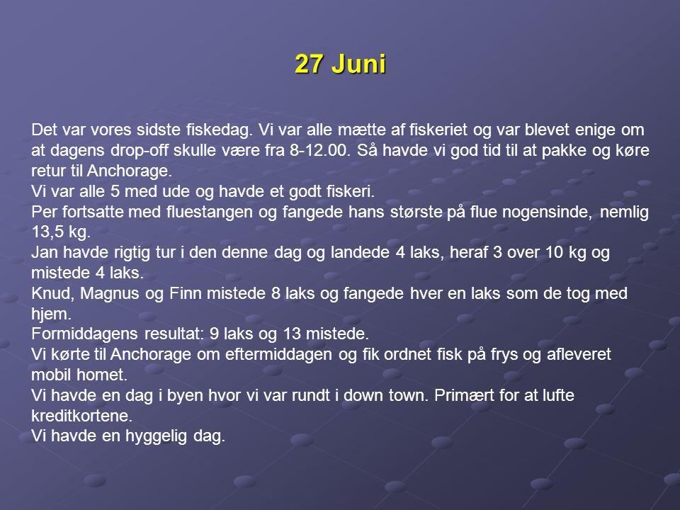 27 Juni Det var vores sidste fiskedag.