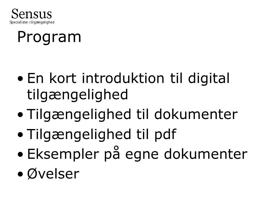 Program •En kort introduktion til digital tilgængelighed •Tilgængelighed til dokumenter •Tilgængelighed til pdf •Eksempler på egne dokumenter •Øvelser