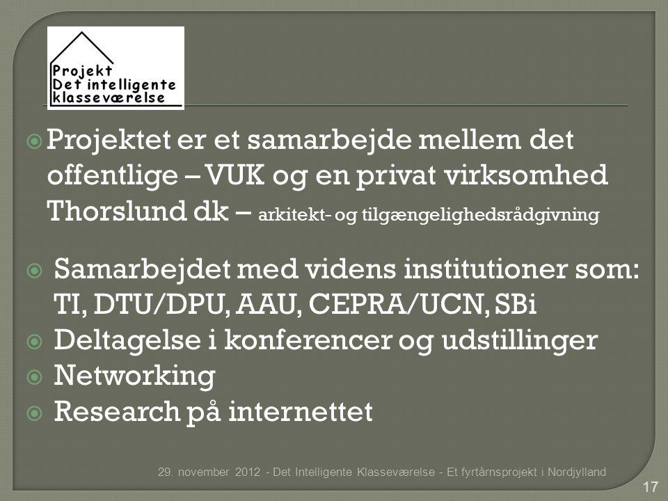  Projektet er et samarbejde mellem det offentlige – VUK og en privat virksomhed Thorslund dk – arkitekt- og tilgængelighedsrådgivning  Samarbejdet med videns institutioner som: TI, DTU/DPU, AAU, CEPRA/UCN, SBi  Deltagelse i konferencer og udstillinger  Networking  Research på internettet 29.
