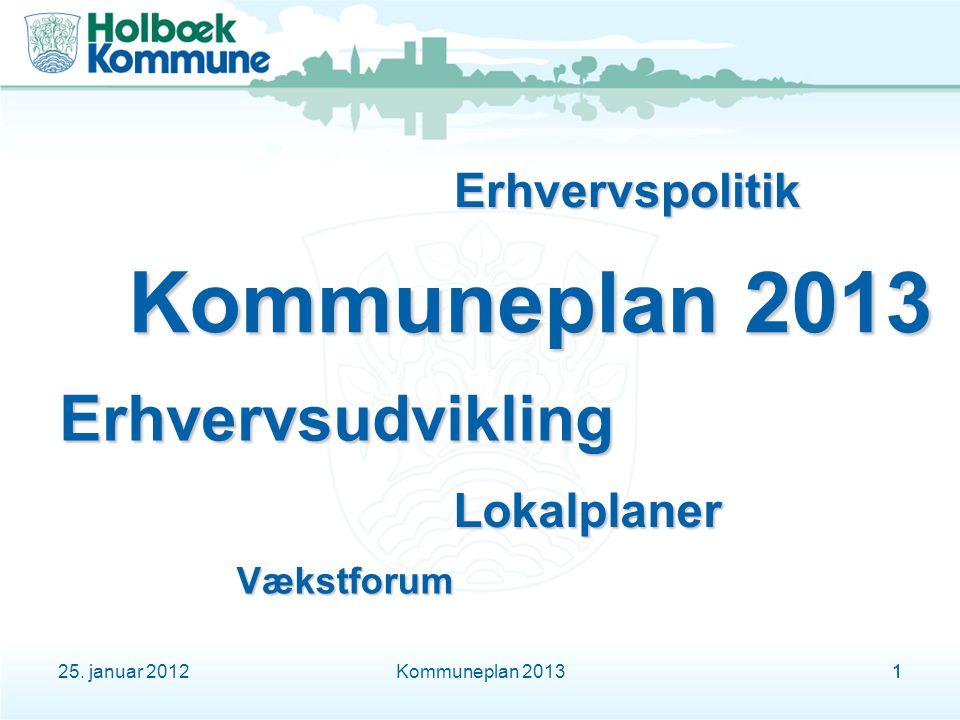 25. januar 2012Kommuneplan 201311 Erhvervsudvikling Vækstforum Erhvervspolitik Lokalplaner