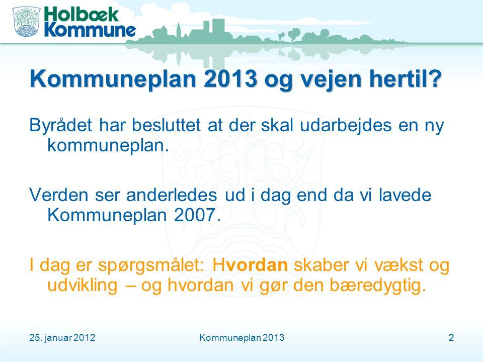 25. januar 2012Kommuneplan 201322 Kommuneplan 2013 og vejen hertil.