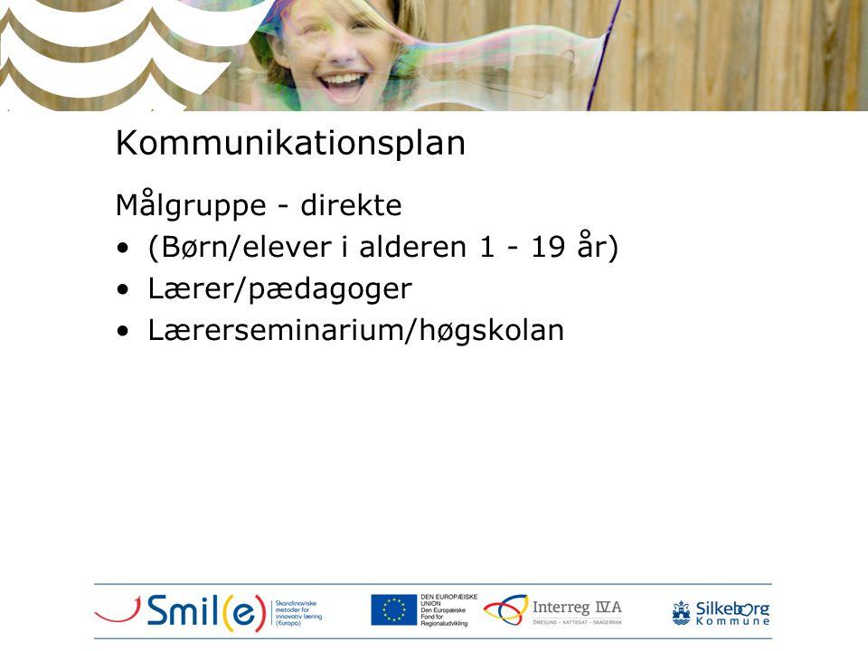 Kommunikationsplan Målgruppe - direkte •(Børn/elever i alderen 1 - 19 år) •Lærer/pædagoger •Lærerseminarium/høgskolan