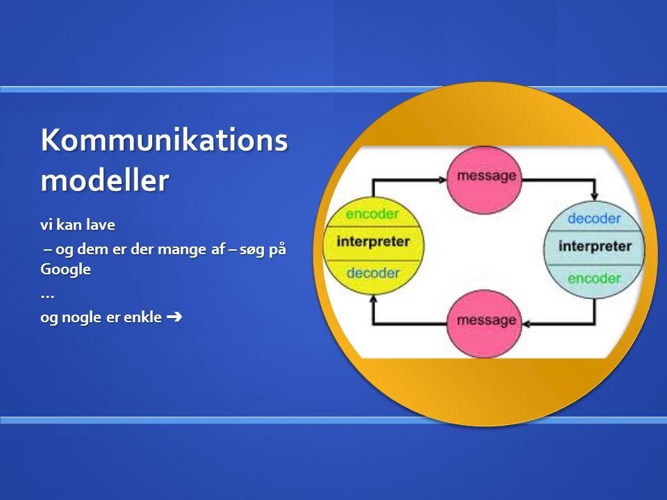 Kommunikations modeller vi kan lave – og dem er der mange af – søg på Google … og nogle er enkle ➔