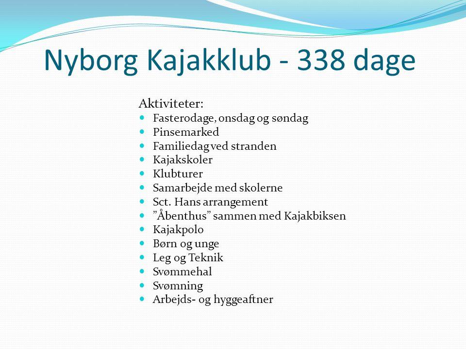 Nyborg Kajakklub - 338 dage Aktiviteter:  Fasterodage, onsdag og søndag  Pinsemarked  Familiedag ved stranden  Kajakskoler  Klubturer  Samarbejde med skolerne  Sct.