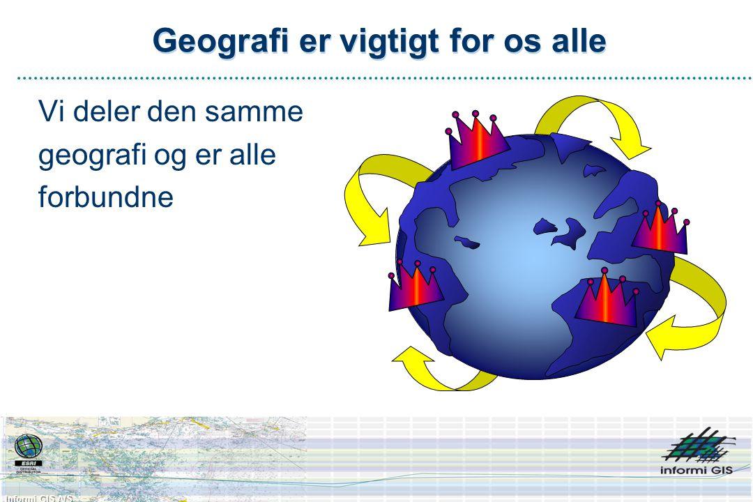 Informi GIS A/S Geografi er vigtigt for os alle Vi deler den samme geografi og er alle forbundne