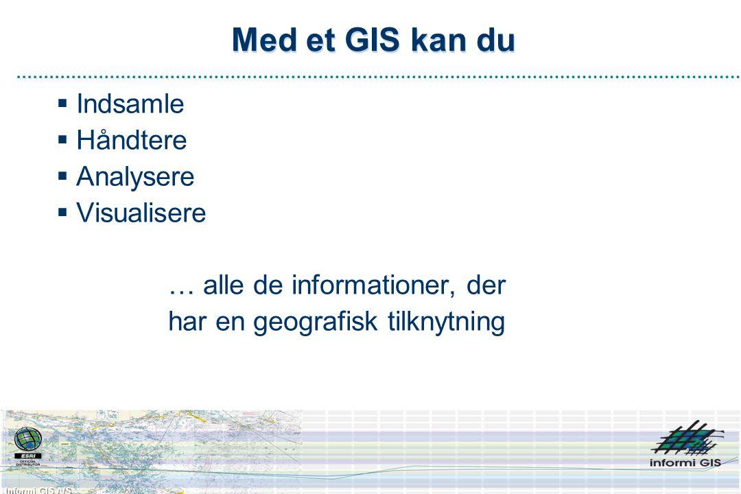 Informi GIS A/S Med et GIS kan du  Indsamle  Håndtere  Analysere  Visualisere … alle de informationer, der har en geografisk tilknytning
