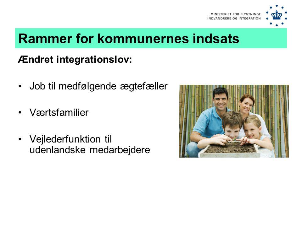 Rammer for kommunernes indsats Ændret integrationslov: •Job til medfølgende ægtefæller •Værtsfamilier •Vejlederfunktion til udenlandske medarbejdere