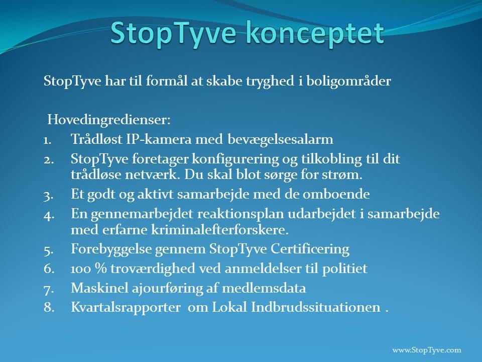 StopTyve har til formål at skabe tryghed i boligområder Hovedingredienser: 1.