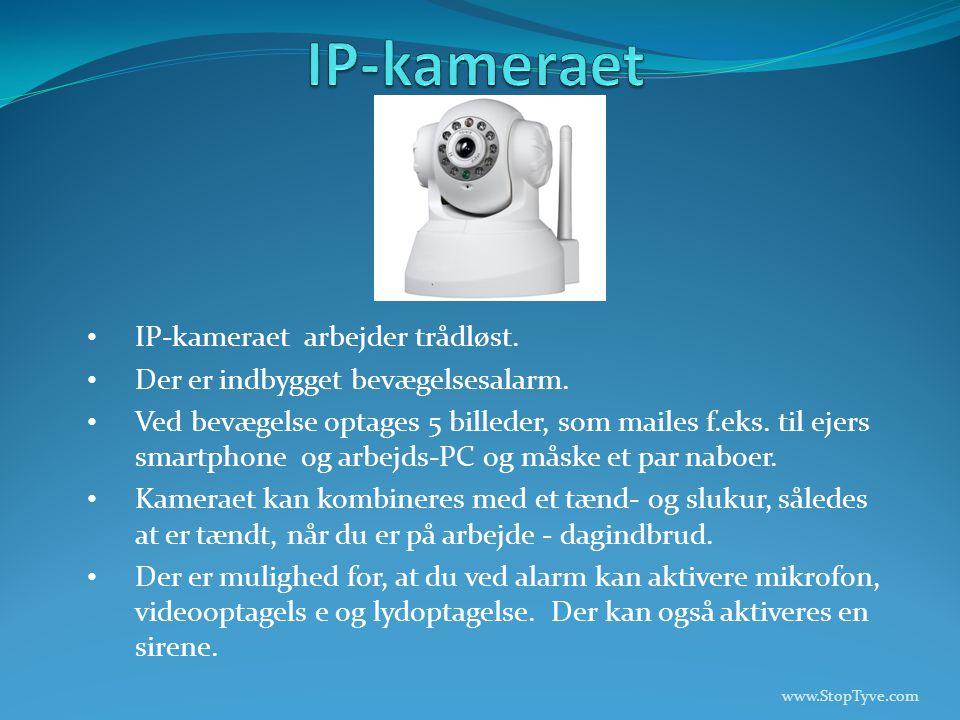 • IP-kameraet arbejder trådløst. • Der er indbygget bevægelsesalarm.