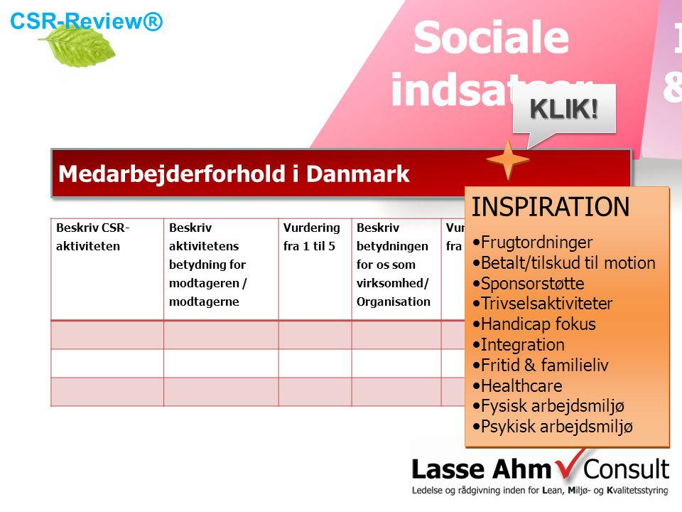 CSR-Review ® Medarbejderforhold i Danmark Beskriv CSR- aktiviteten Beskriv aktivitetens betydning for modtageren / modtagerne Vurdering fra 1 til 5 Beskriv betydningen for os som virksomhed/ Organisation Vurdering fra 1 til 5 Forventet økonomisk betydning for virksomheden i DKKKLIK!KLIK.