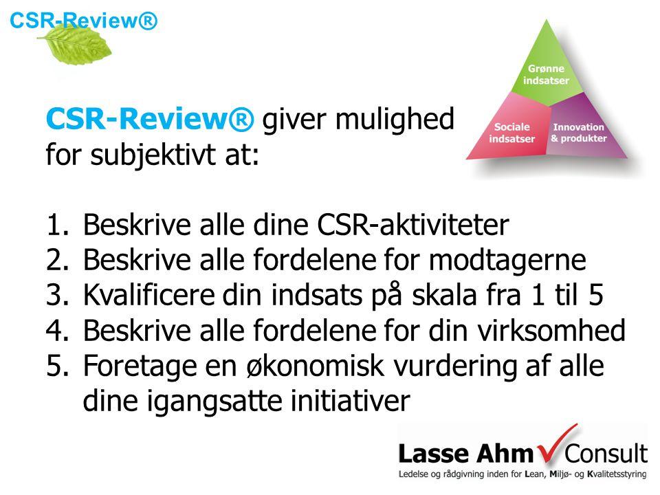 CSR-Review ® CSR-Review® giver mulighed for subjektivt at: 1.Beskrive alle dine CSR-aktiviteter 2.Beskrive alle fordelene for modtagerne 3.Kvalificere din indsats på skala fra 1 til 5 4.Beskrive alle fordelene for din virksomhed 5.Foretage en økonomisk vurdering af alle dine igangsatte initiativer
