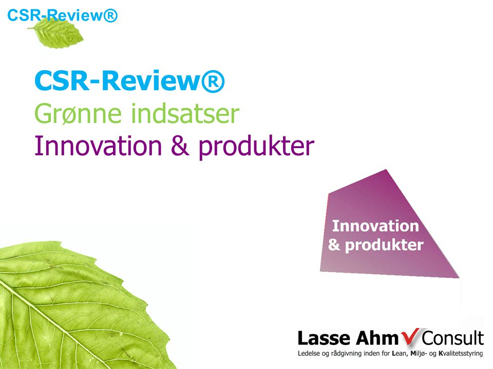 CSR-Review ® Grønne indsatser Innovation & produkter