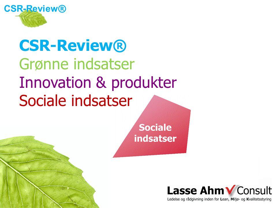 CSR-Review ® Grønne indsatser Innovation & produkter Sociale indsatser