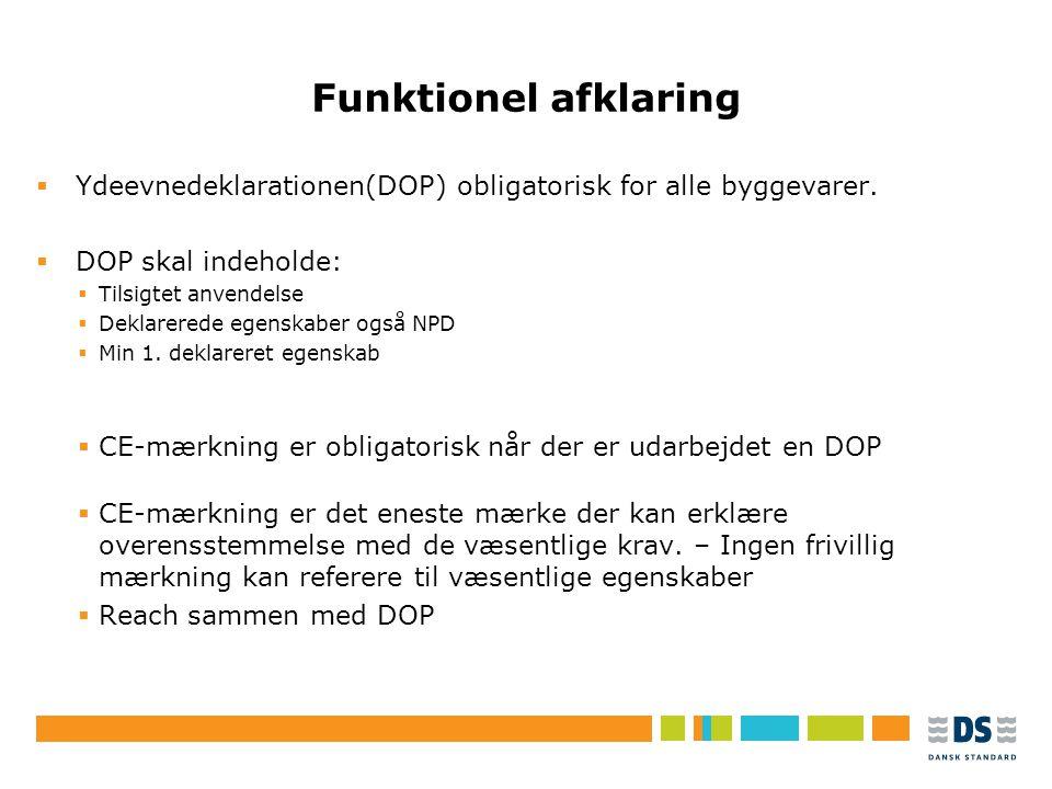 Tekstslide i punktform Rubrik, helst 1 linje Brug Forøg/Formindsk indryk for at få de forskellige niveauer frem Funktionel afklaring  Ydeevnedeklarationen(DOP) obligatorisk for alle byggevarer.
