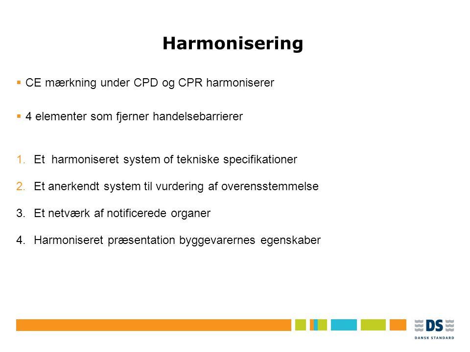 Tekstslide i punktform Rubrik, helst 1 linje Brug Forøg/Formindsk indryk for at få de forskellige niveauer frem Harmonisering  CE mærkning under CPD og CPR harmoniserer  4 elementer som fjerner handelsebarrierer 1.Et harmoniseret system of tekniske specifikationer 2.Et anerkendt system til vurdering af overensstemmelse 3.Et netværk af notificerede organer 4.Harmoniseret præsentation byggevarernes egenskaber