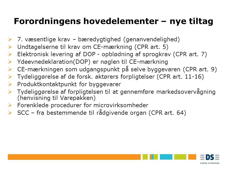 Tekstslide i punktform Rubrik, helst 1 linje Brug Forøg/Formindsk indryk for at få de forskellige niveauer frem Forordningens hovedelementer – nye tiltag  7.