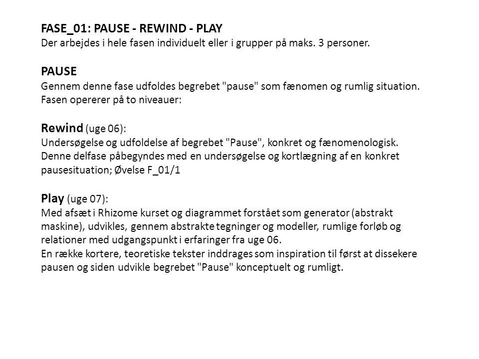 FASE_01: PAUSE - REWIND - PLAY Der arbejdes i hele fasen individuelt eller i grupper på maks.