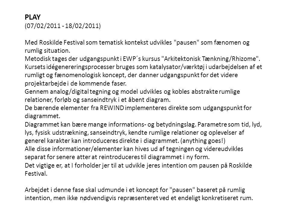PLAY (07/02/2011 - 18/02/2011) Med Roskilde Festival som tematisk kontekst udvikles pausen som fænomen og rumlig situation.
