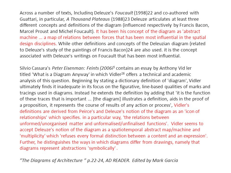 Across a number of texts, lncludinq Deleuze s Foucault (1998)22 and co-authored with Guattari, in particular, A Thousand Plateaus (1988)23 Deleuze articulates at least three different concepts and definitions of the diagram (influenced respectively by Francis Bacon, Marcel Proust and Michel Foucault).