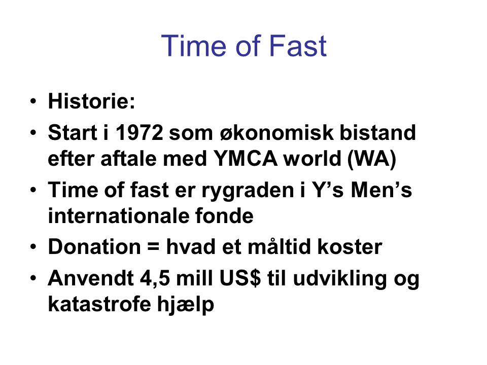 Time of Fast •Historie: •Start i 1972 som økonomisk bistand efter aftale med YMCA world (WA) •Time of fast er rygraden i Y's Men's internationale fonde •Donation = hvad et måltid koster •Anvendt 4,5 mill US$ til udvikling og katastrofe hjælp
