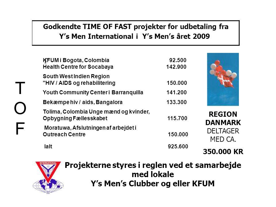 Godkendte TIME OF FAST projekter for udbetaling fra Y's Men International i Y's Men's året 2009 Projekterne styres i reglen ved et samarbejde med lokale Y's Men's Clubber og eller KFUM TOFTOF REGION DANMARK DELTAGER MED CA.
