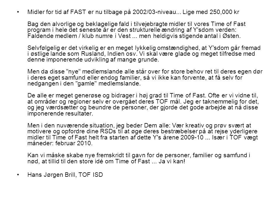 •Midler for tid af FAST er nu tilbage på 2002/03-niveau...