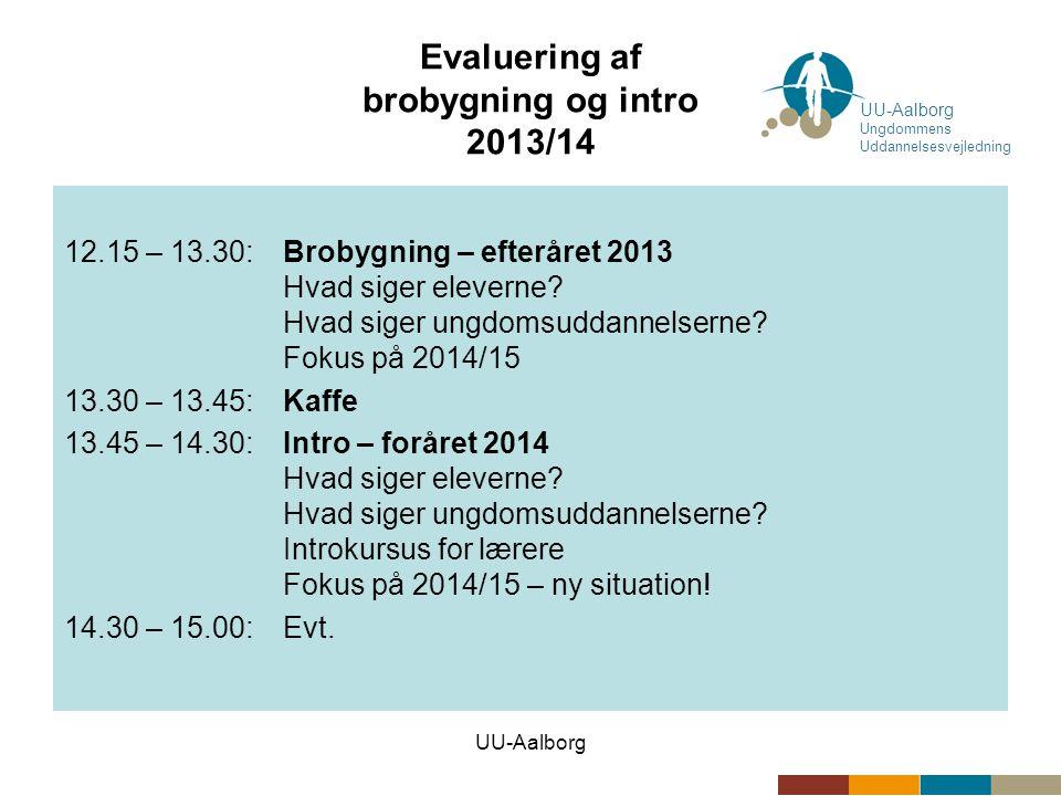 UU-Aalborg Evaluering af brobygning og intro 2013/14 12.15 – 13.30:Brobygning – efteråret 2013 Hvad siger eleverne.
